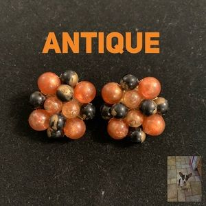 Antique cluster bead clip earrings West Germany